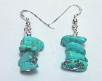 Turquoise Howlite Earrings Made in America
