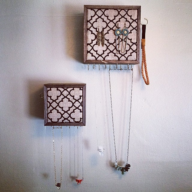 Wooden Jewelry Storage made from rustic wood wall hanging..... |Wooden Wall Jewelry Organizer