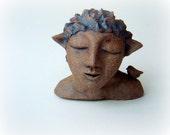 Woodland Faun . Stoneware Ceramic Sculpture . Home and Garden Decor . Fairy Nymph Statue