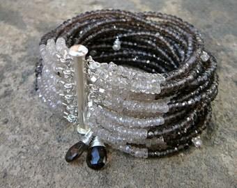 Smoky Quartz Bracelet, Smoky Quartz Jewelry, Smoky Topaz Jewelry, Topaz Bracelet, Zircon Jewelry, Zircon Bracelet, Multistrand Bracelet