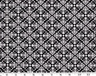1 Yard, Black and White Tile Style Cotton