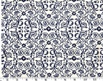 1 Yards 35 inches, Navy Damask Scroll on Cream