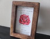 Robert Burns red rose art print Valentine poem Scottish framed art vintage book page Burns night wall art song wooden framed home decor