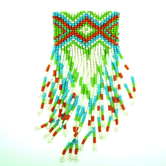 Bead-work design Jewelry making supplies Native Navajo geometric style. Blue Red White Green