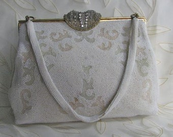 1950s Hand Made Ivory Beaded Walborg Purse with EXCEPTIONAL Clasp /  Made in France