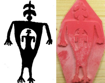 Design Stamping Tool for Polymer Ceramic PMC Clays & Textile Design - Petroglyph Rock Art Shaman with Child