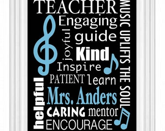 MUSIC Teacher personalized gift - 8x10 print - Graduation Gift - Subway style sign - Music student - Performance Arts - Musical -Any colors