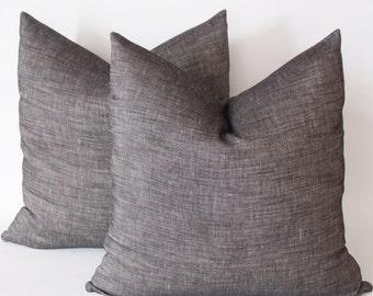Set of 2 / Cut Black Linen Pillow Cover, Black Linen Pillow,Cushion Linen, Decorative Pillows