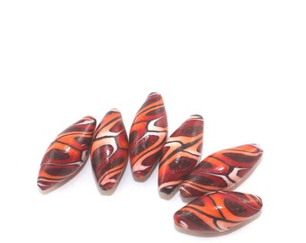 Ombre spiral pattern Marquise beads, beading supplies, polymer clay beads, red and orange beads, set of 6 elegant beads in spiral pattern