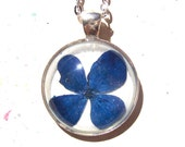 Hydrangea Real Pressed Blue Flower Pendant Necklace