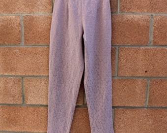 parsley print high waisted pants // lilac color vintage pants // long pants // 90's pants