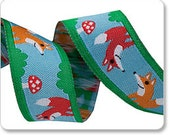Foxes on Blue Ribbon - 1 Yard - Fox Ribbon - Renaissance Ribbons - Foxes and Mushrooms Ribbon