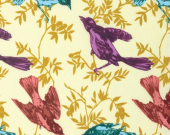 SALE Chatterbox in Guilded by Anna Maria Horner for Free Spirit Fabric 1/2 Yard Honor Roll Bird Fabric Quilt Fabric - Red and Purple