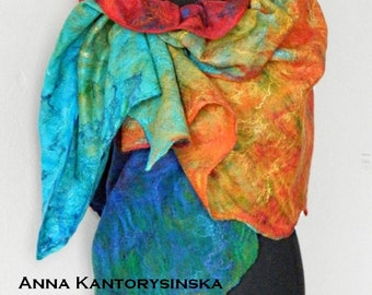 felted scarf shawl NEW RAINBOW handmade, wool scarf, 100% natural, eco fashion by Kantorysinska