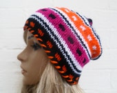 Hand Knitted Hat, Women Slouchy Knit Hat, Oversized Beanie, Multi Colour Chunky Acrylic, Winter Accessories, Clickclackknits