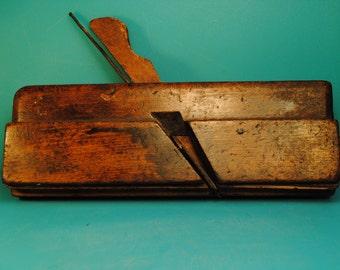 1880 Antique handmade wood working Plaining tool marked HCS and FC Gill antique wood carving tool industrial chic manly man Made in England