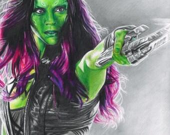 Drawing Print of Zoe Saldana as Gamora in Guardians of the Galaxy