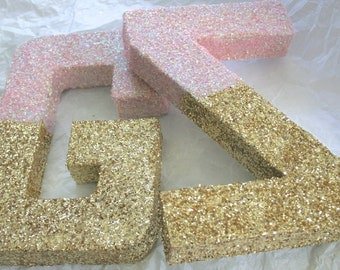 Glittered Letters or Numbers, Wedding, Nursery, Home or Party Decor, Self Standing, ANY COLOR