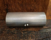 vintage Danish kiss lock case // silver plated metal cylinder box // Made in Denmark