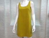 vintage mod velveteen jumper // chartreuse velvet dress // small