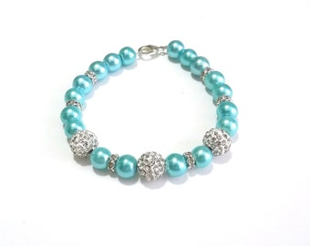 Light blue wedding Mint bracelet Pearl Jewelry Bridal Party Gift Blue Bridesmaid Jewelry Aquamarine Jewelry