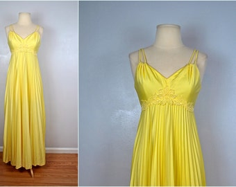 60s or 70s Yellow Pleated Dress, Vintage Yellow Formal Dress, Vintage Formal Gown
