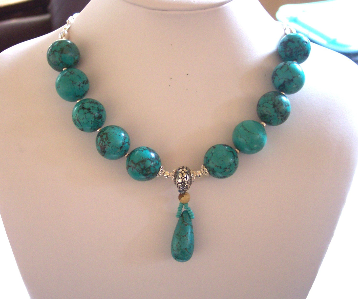 turquoise necklace 925 silver sterling by