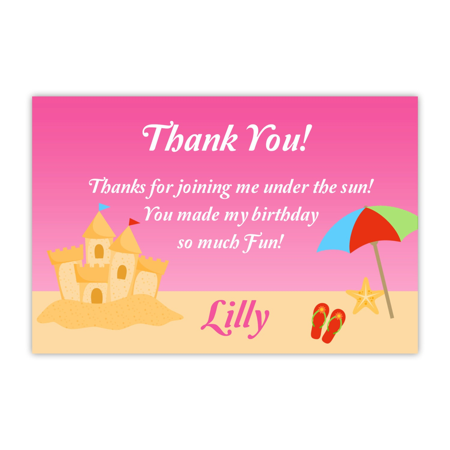 Beach Thank You Card Cute Hot Pink Sand Castle and Umbrella
