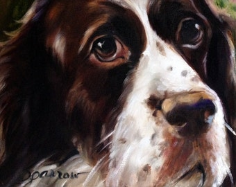 PRINT Springer Spaniel Dog Face Art Print of oil Painting Gift / Mary Sparrow of Hanging the Moon