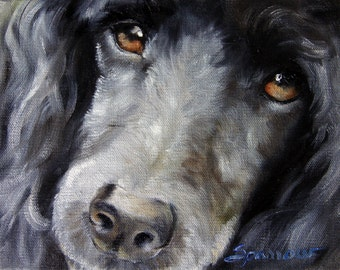 PRINT Standard Poodle Miniature Poodle Dog Art Gift for Pet Lover by Mary Sparrow from Hanging the Moon