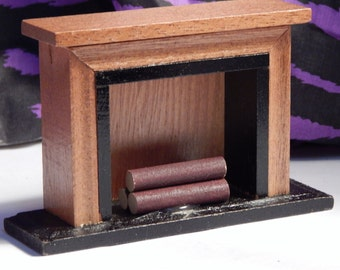 Dollhouse Fireplace - Doll House Wood Fireplace w Firewood NIB - 1/12th Scale