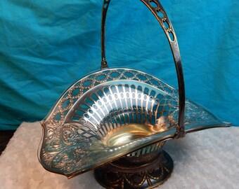Victorian Wedding Basket - Something Old - Beautiful Basket w Original Glass Insert