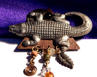 Alligator Brooch - Louisiana Gator Pin - Perfect Sumer Brooch