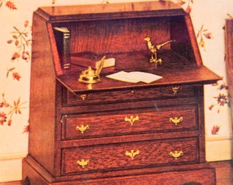 Doll House Chippendale Desk - Dollhouse Chippendale Desk circa 1750- 1790 House of Miniatures - 1/12th Scale