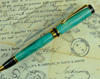Green Turquoise Curly Maple Ballpoint Mens Gift Ladies Gift #116
