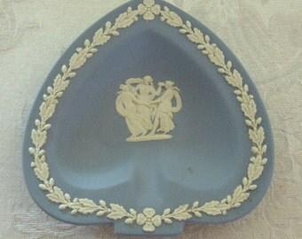 Wedgwood Blue Jasperware Spade Classical Ashtray