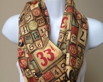 Handmade Tim Holtz Mixed Media Cotton Eclectic Elements Game Pieces Infinity Scarf