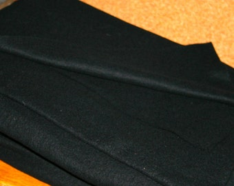 100% Black  Merino WOOL PRE-FELT - 1 Metre  x  Half a Metre - for quilting, dressmaking, wet and dry felting