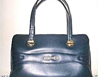 Large Leather Like Handbag by John Hort Canada Navy Blue 1960s