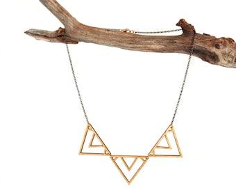 Trek Necklace, Geometric Wood Necklace, Laser Cut Wood Necklace, Minimalist Modern Necklace, Boho Necklace, Tribal Necklace