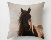 Horse pillow cover, rustic decor, barn decor, horse cushion cover, rustic pillow, brown, chocolate
