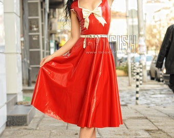 Red Like Fire Elegent Lady Latex Dress