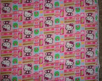 Pink Blocked Hello Kitty with Flowers/hearts and Trees Fabric by the Yard