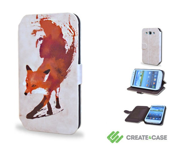 """Samsung Galaxy S3 wallet flip case - Artist Designed high quality colorful & unique leather style flip case """"Vulpes"""" artistic fox"""
