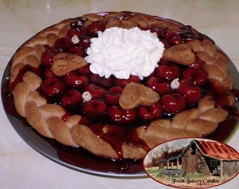 10 Inch Braided Crust Whole Cherry Pie Candle