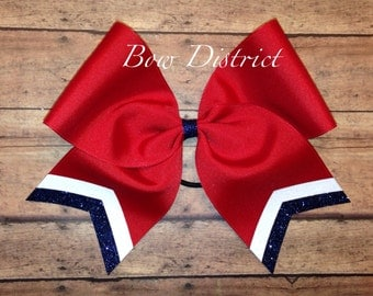 """3"""" Red Team Cheer Softball Volleyball Bow with White and Navy Blue Glitter Tail Stripes"""