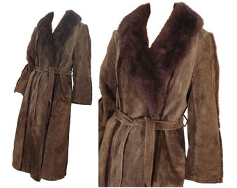 Vintage 60s Coat Full Length Shearling Coat Brown Suede Leather