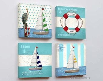 Nautical Nursery Art -  Baby Nursery Room Decor - Nautical Nursery Canvas set -  Nautical art -  set of four Canvas Art