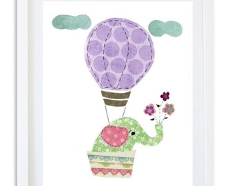 Purple nursery print, nursery decor, kids room wall art,  nursery art, elephant decor, balloon print - come fly with me baby