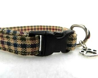 Beige Plaid Cat Collar, Breakaway Cat Collar, Adjustable Cat Collar